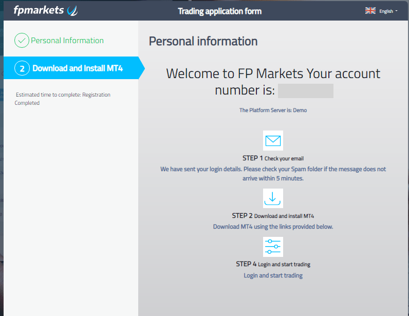 FP Markets Opening An Account Demo