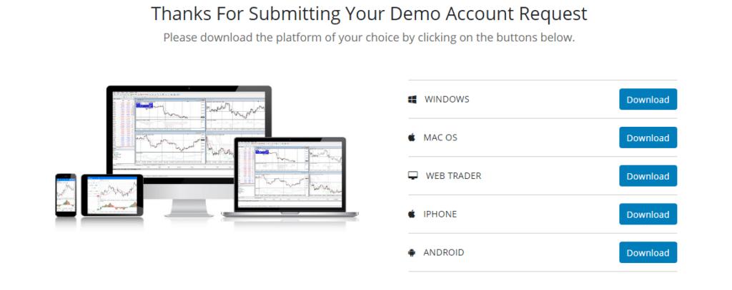 FXtrading.com Demo Account Step 2