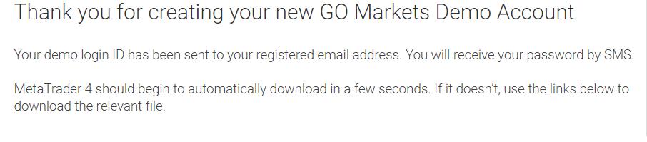 GO Markets Demo Account Step -2