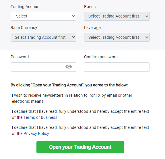 IronFX Live Account Step 1